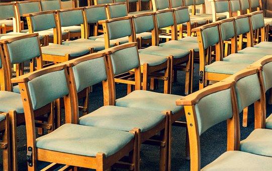 Chairs, Pews, Church, Row, Seat, Green, Brown, Blue