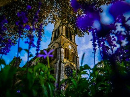 Church, Flowers, Fall, Sky, Light, Clouds, Green