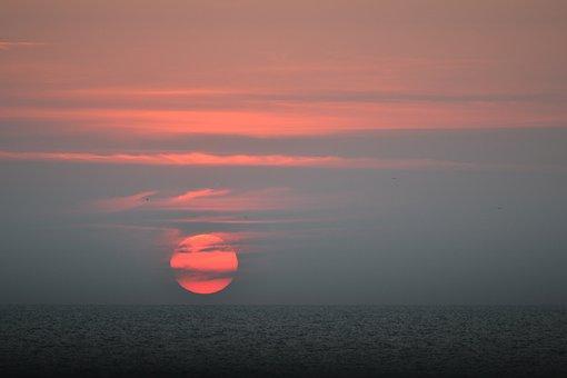 Sunset, Sol, Sky, Clouds, Ocean, Natural