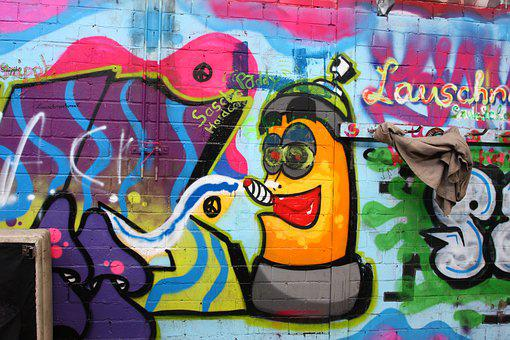Industrial Hall, Graffiti, Colorful, Wall Art, Smoking