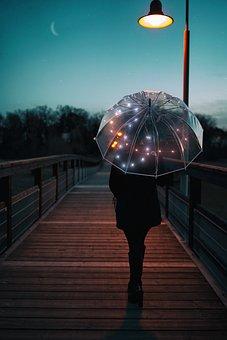 Umbrella, Run, Walk, Evening, At Night, Rain, Go