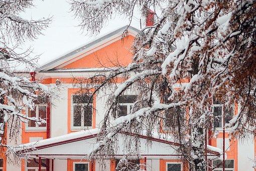 Winter, Snow, Frost, Building, Windows