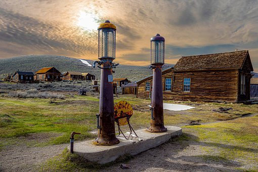 Ghost Town, Petrol Stations, Wooden Houses, Sunrise