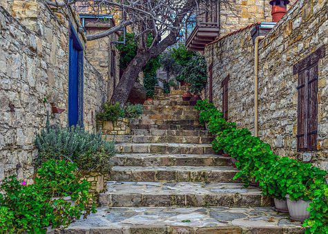 Stairs, Staircase, Street, Houses, Stone