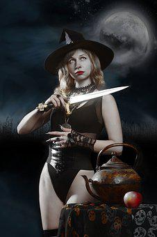 Witch, Knife, Apple, Boiler, Fantasy, Witchcraft