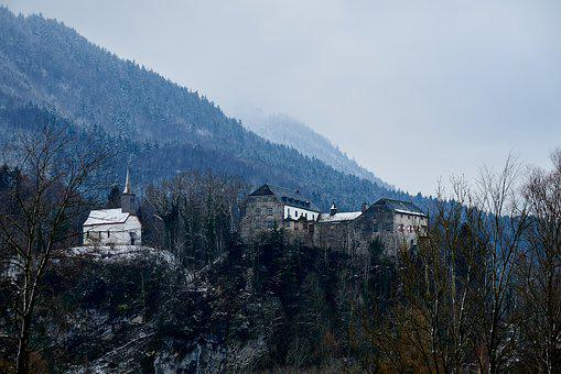 Castle, Mountains, Winter, Mood, Forest