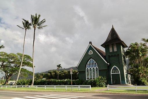 Church, Chapel, Landscape, Palm Trees, Green, Grey
