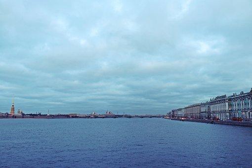 Neva, River, Petersburg, Russia, Sky, Landscape, Clouds