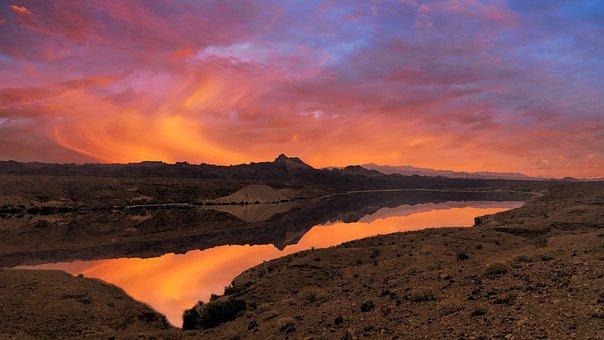 Morning Sun, Fire, River, Nevada, Sky, Spectacular