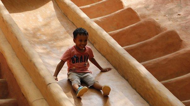 Kid, Slide, Playground, Baseball, Play, Kids, Childhood