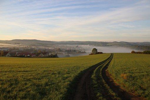 Autumn, Fog, Dippoldiswalde, Small Town, Light, Sunrise