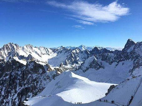 Mountains, Snow, Winter Landscape, Aiguille Du Midi