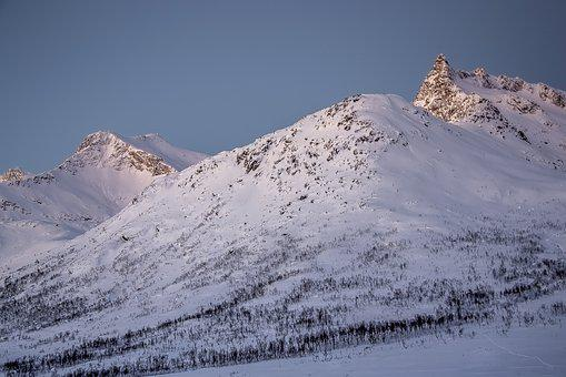 Mountains, Snow, White, Sunset, Summit