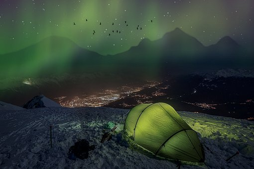 Manipulation, Northern Light, Tent, Mountains