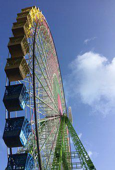 Ferriswheel, Colors, Amusement, Colorful, Yellow, Green