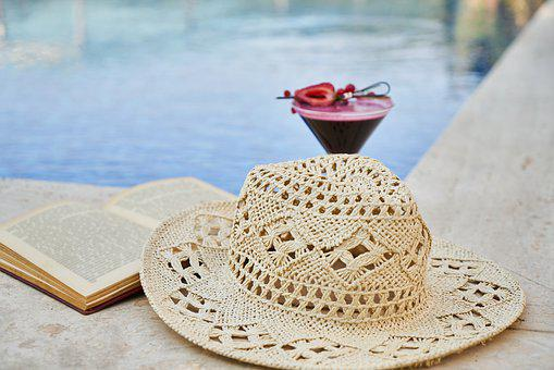 Cocktail, Book, Pool, Hat, Holiday, Peace, Relax, Read