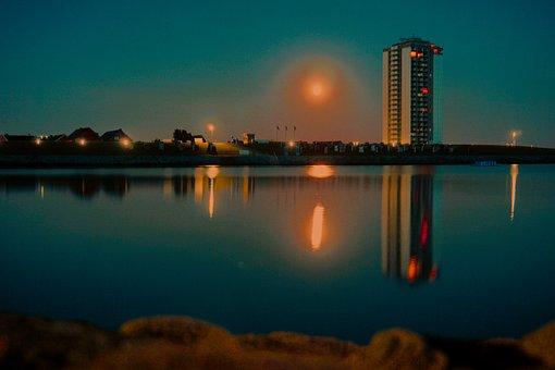 Water, Sea, Moon, Town, Blue, Sky, Dark, Lights