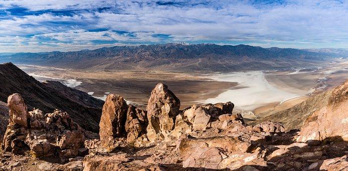 Death Valley, Dantes Point, Clouds, Desert, Sky, Travel