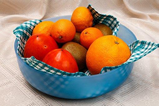 Fruit, Oranges, Mandarins, Kiwi, Persimmon, Food
