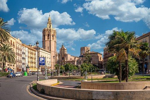 Valencia, Space, Fountain, Piazza, Architecture