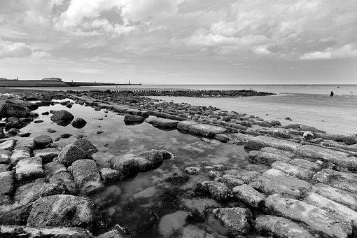 Sea, Dunquerke, France, Side, Dam