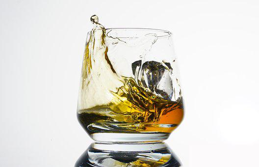 Whiskey, Glass, Drink, Bar, Cocktail, Ice Cubes