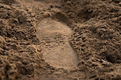 Sand, Earth, Ground, Footprint, Shoe Print, Trace