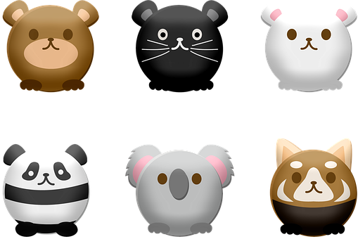 Round Kawaii Animals, Rabbit, Mouse, Panda, Koala, Bear
