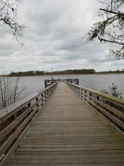 Dock, River, Water, Bridge, Landscape, Dreary, Cloudy