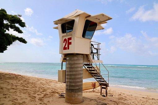 Lifeguard On Duty, Tower, Beach, Sea, Water, Sand, Live