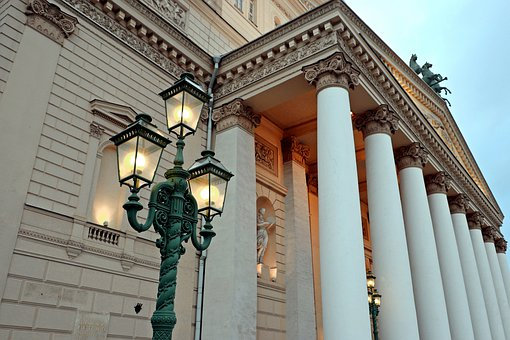 Moscow, Theatre, Large, Columns, Lights, Capital