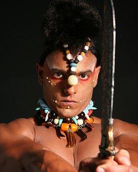 Man, Makeup, Indigenous, Necklaces, Knife, Model
