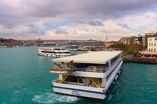 Marine, Ship, Estuary, V, Transportation, Air, Bridge