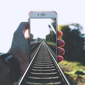 Train, Rail, Zugschiene, Mobile Phone, Railway, Rails