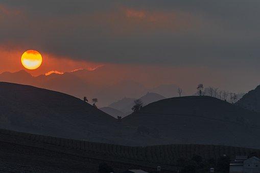 Dawn, The Sun, Mountain, Tree, Ball