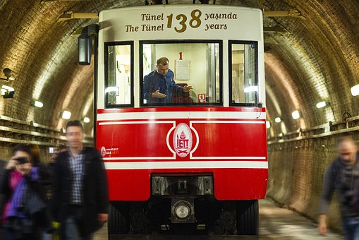 Tramway, Train, Wagon, People, City, Red, Old, Retro