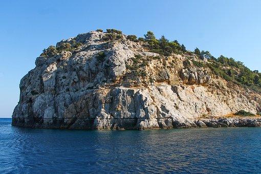 Rhodes, Afandou, Mediterranean, Sea, Blue, Rock, Coast