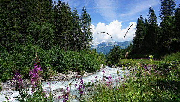 Rosenlaui Gorge, Mountains, Summer, Sky, Clouds