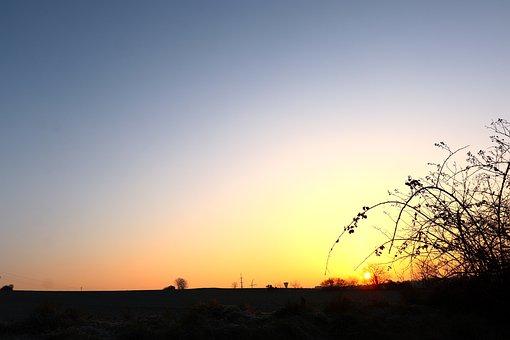 Sunrise, Winter Landscape, Winter Light, Nature, Rural