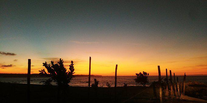 Beach, Sea, Water, Sunset, Philippines, Bushes, Shadow