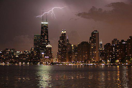 Chicago, Flash, Night, Skyline, Thunderstorm, City