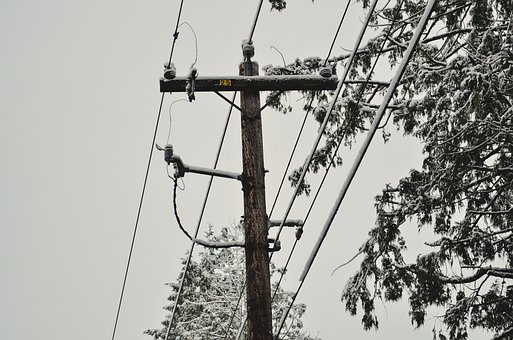 Power Lines, Snow, Winter, Cold, Snowy, Frost, Road