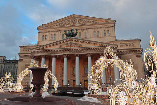 Moscow, Large, Theatre, Square, Capital, Russia, Winter