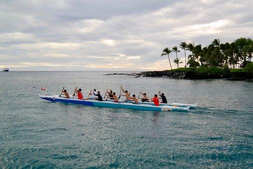 Boat, Rowing, Crew, Team, Sea, Water, Horizon, Coast