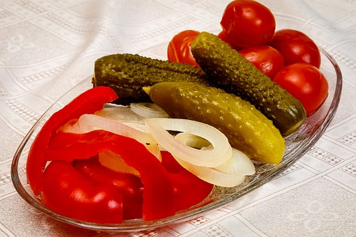 Pickles, Tomatoes, Cucumbers, Onion, Paprika, Table
