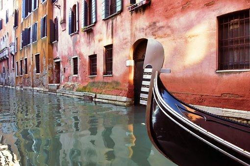 Gondola, Venice, Channel, Architecture, Houses, Old