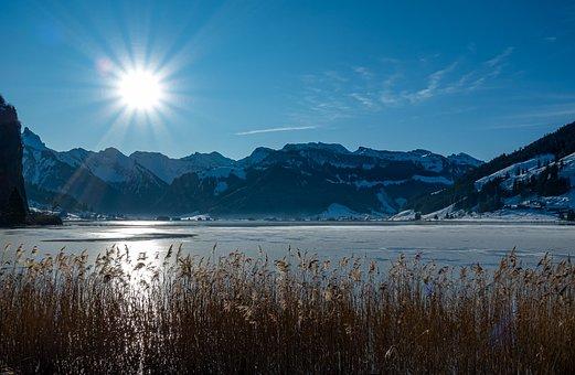 Sun, Winter, Sihlsee, Wintry, Nature