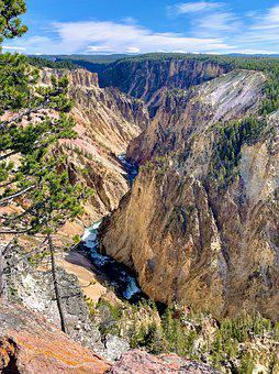 Yellowstone, Park, Nature, Canyon, River