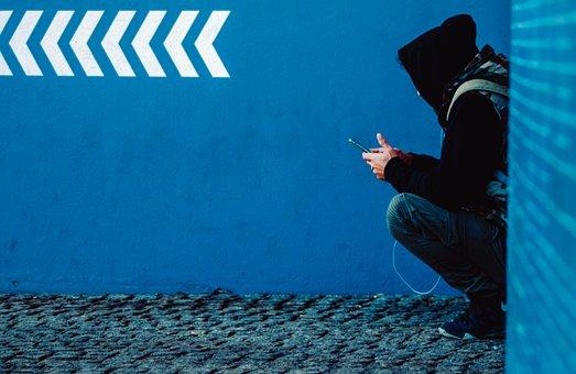 Human, City, Person, Smartphone, Alone