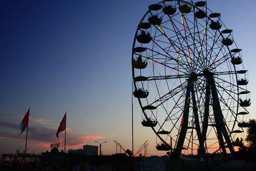 Ukraine, Asov, Asov Sea, Beach, Ferris Wheel, Sunset